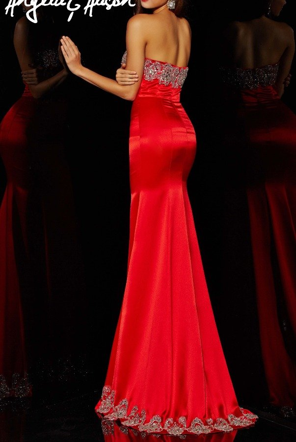 Angela and Alison 51083 Red Strapless Satin Gown Dress with Lace