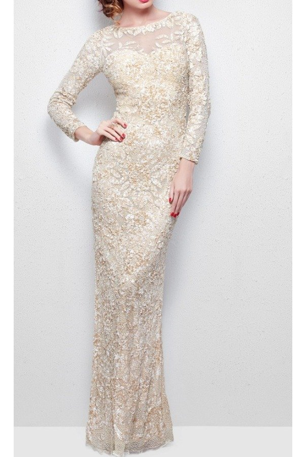 Primavera Couture NUDE LONG SLEEVE BEADED Dress GOWN  1401