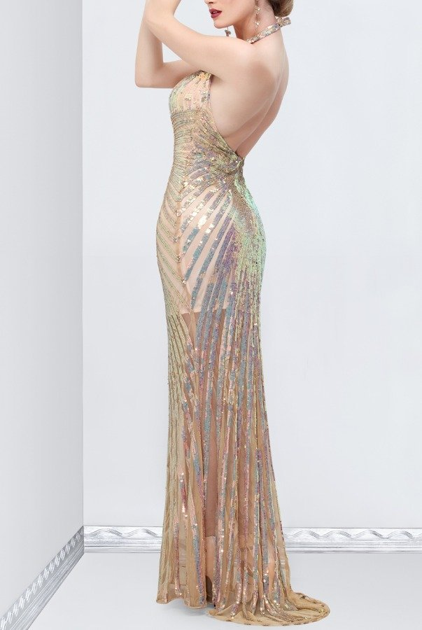 Primavera Champagne Open back sequin evening dress 9801 Art Deco