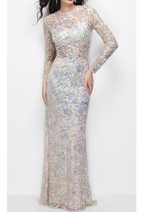 Primavera Couture Beaded Lace Long Sleeve Gown Dress Primavera 9969
