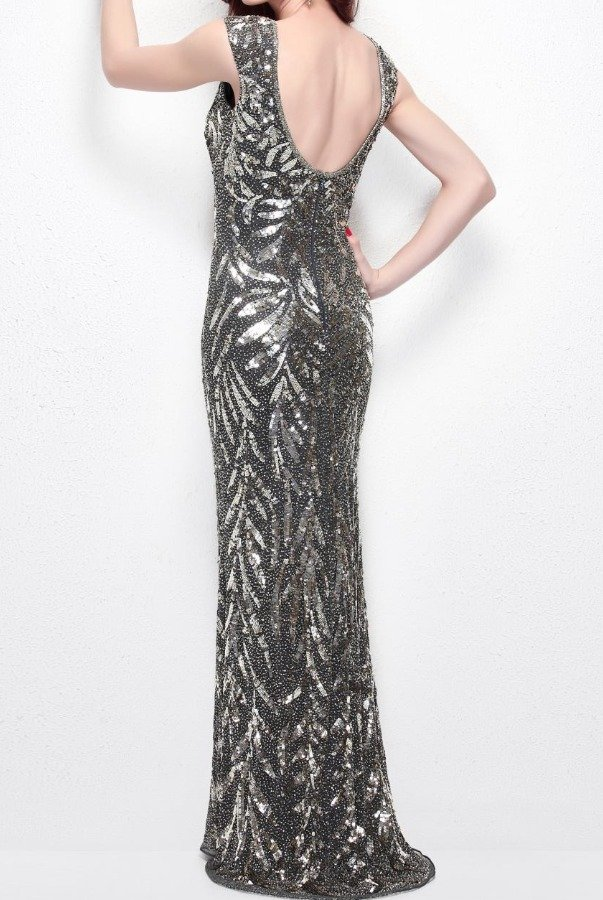 Primavera Couture EMBELLISHED BEADED GOWN IN CHARCOAL 1578
