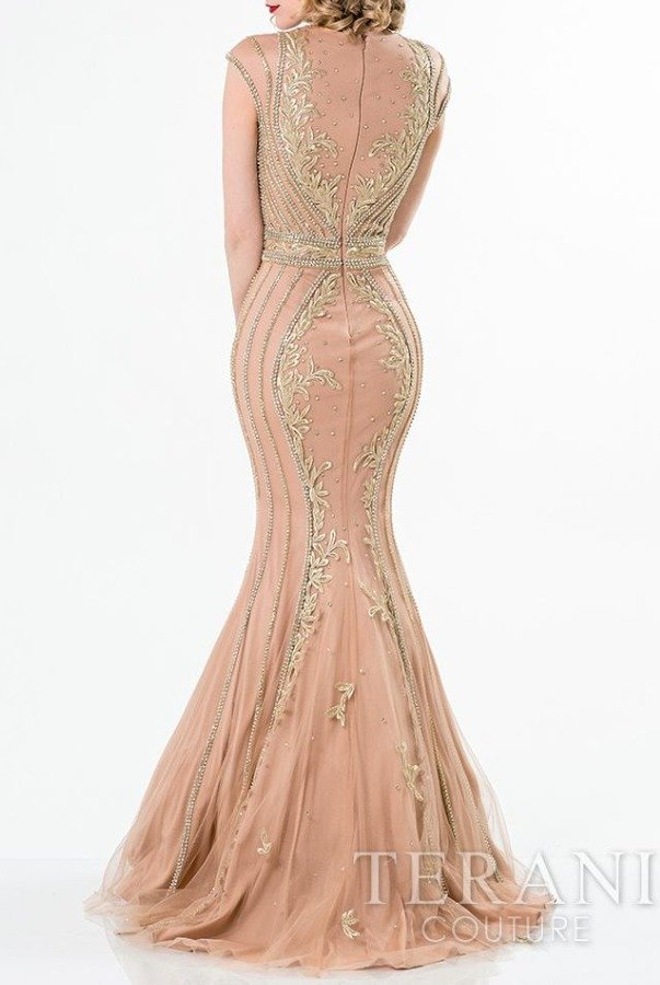 Terani Couture Cap Sleeve Shimmer Applique Evening Gown 1521GL0789