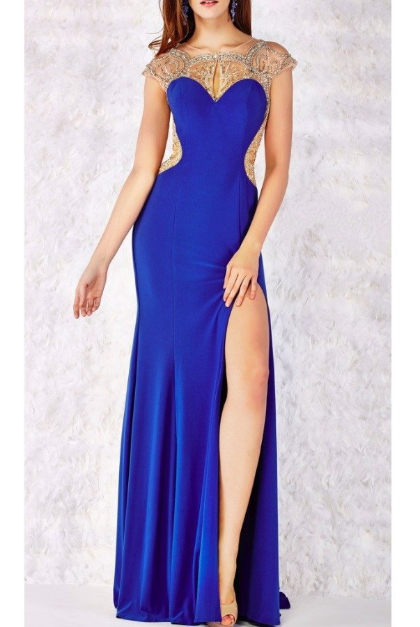 Angela and Alison Sexy Blue High Slit Beaded Evening Gown dress 52055