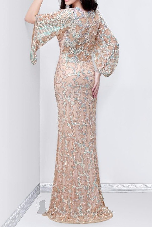 Primavera 9713 LONG SLEEVE BEADED GOWN IN NUDE