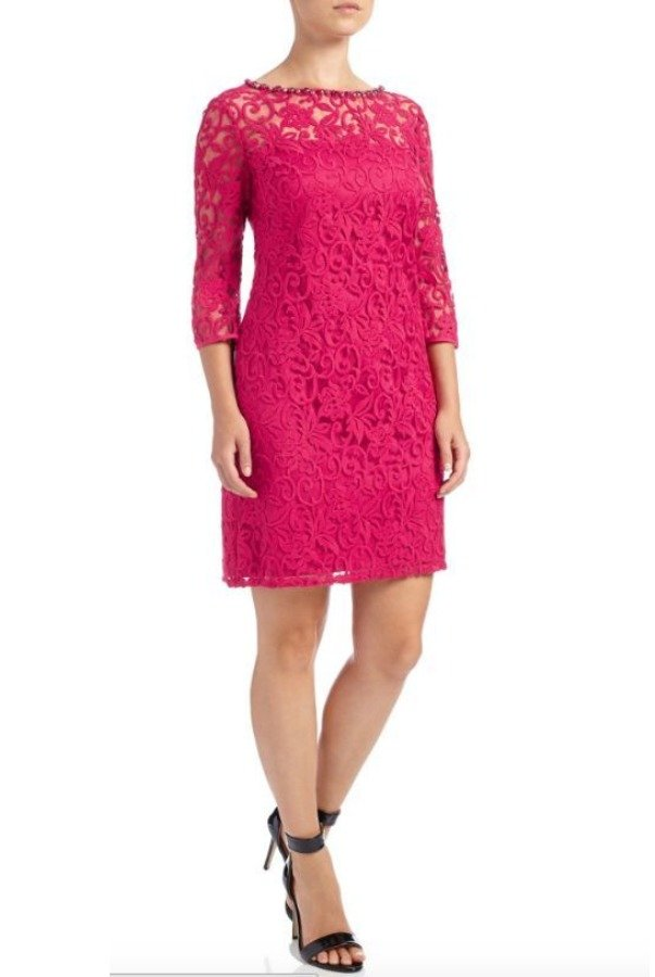 Adrianna Papell Pink Flounce Sleeve Illusion Shift Cocktail Dress