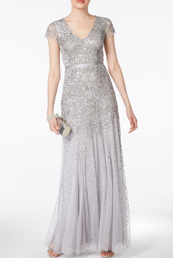 Adrianna Papell Silver Cap Sleeve Embellished Beaded Dress Gown ...