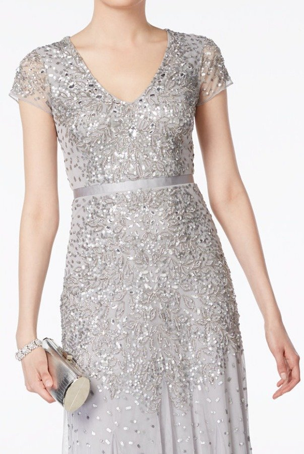 Adrianna Papell Silver Cap Sleeve Embellished Beaded Dress Gown