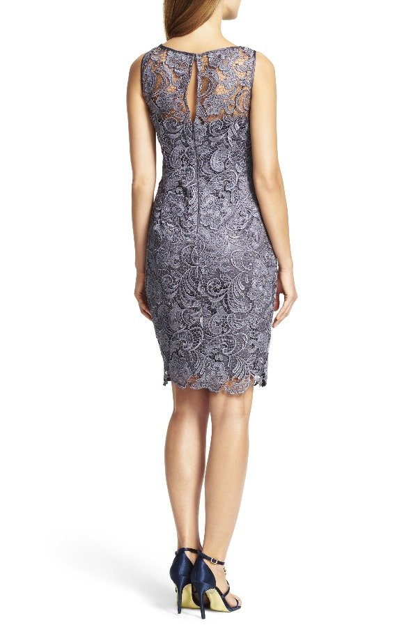 Adrianna Papell Illusion Lace Sheath Dress Charcoal