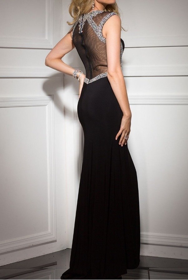 Clarisse 2637 Sweetheart Encrusted Black Evening Gown