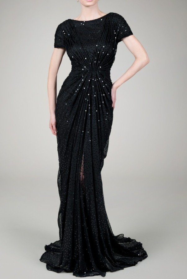 Tadashi Shoji Black Sequin Gown Dress 6A1060L worn by Octavia ...