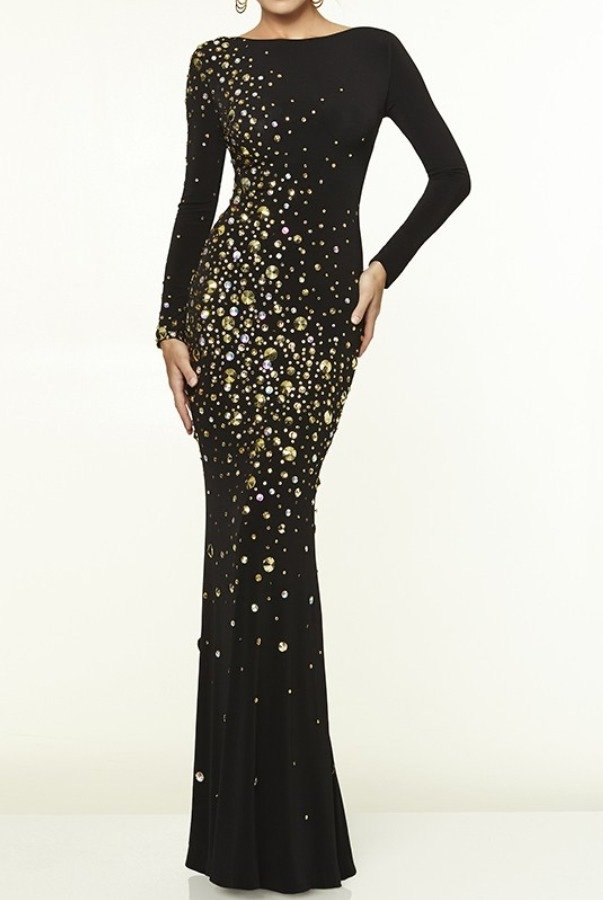 Mori Lee Paparazzi Black Long Sleeve Open Back Dress  Gown 97070