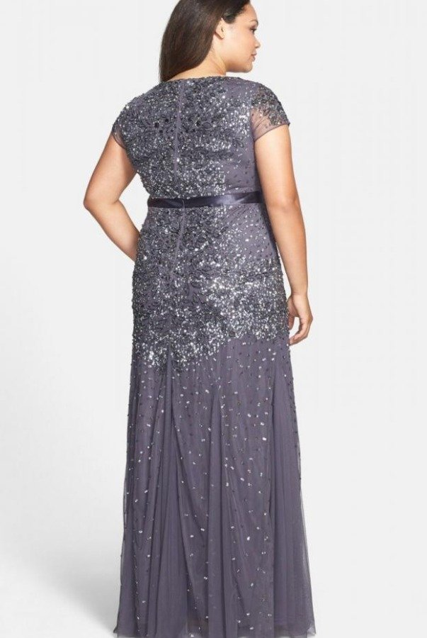 Adrianna Papell Beaded Sparkle Gunmetal Evening Dress Gown Plus Size