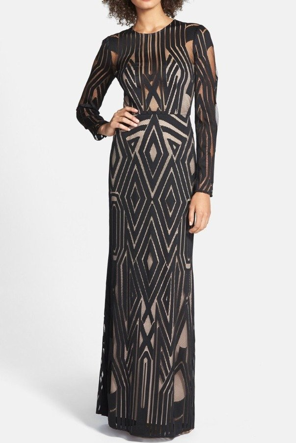 BCBG Viera Mesh Geometrical Dress Gown