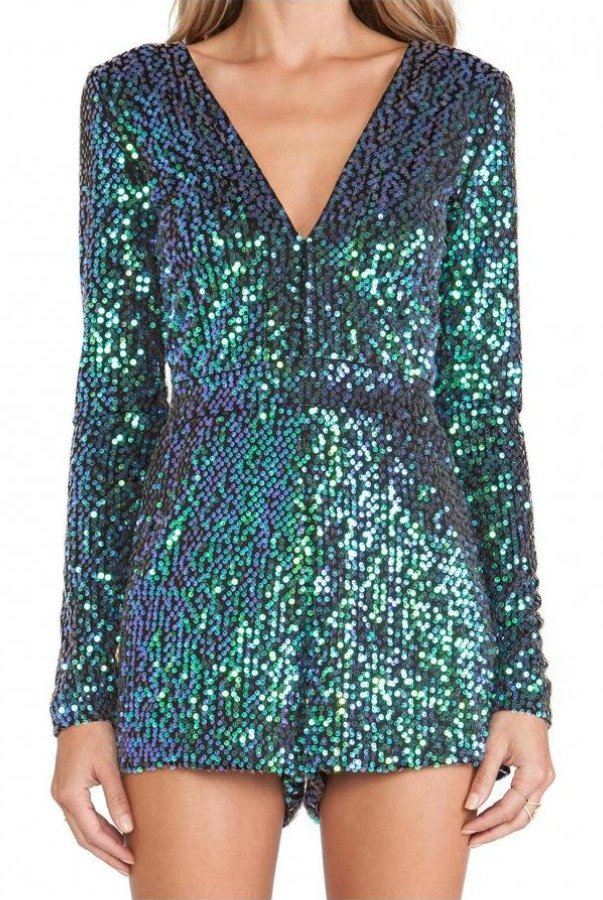 The Frock Shop Deen V Metallic Green Sequin Jumpsuit Paulette