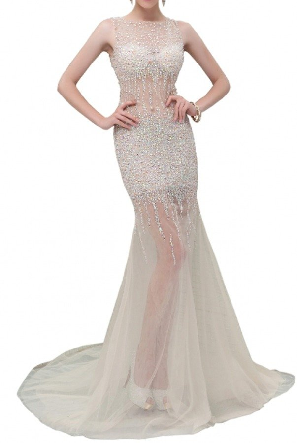 Angela and Alison Petite 41034 Diamond encrusted illusion gown dress