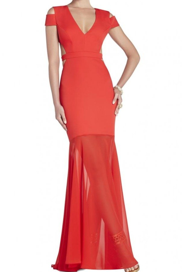 BCBG Red Cutout Ava Gown Evening Dress