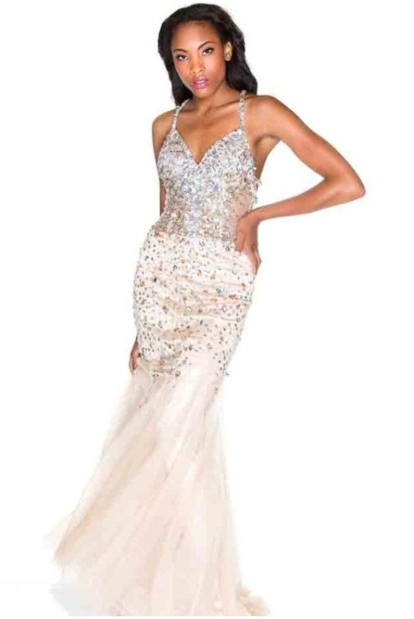 Party Time Formals Encrusted Nude with Silver Bombshell Gown Prom