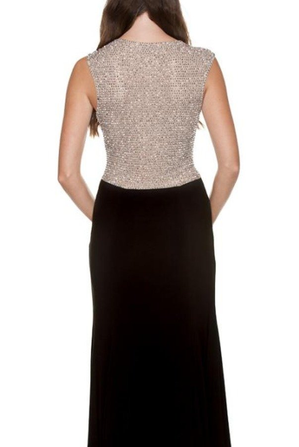 Betsy and Adam  Rhinestone Encrusted Back Gown in Black