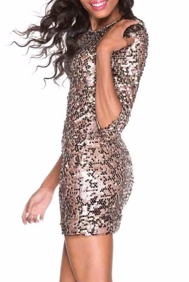 French Connection Bronze Gold Sequin Party Dress