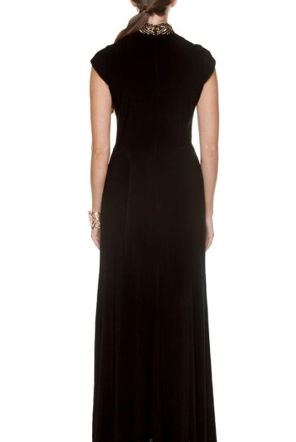 Bebe Black Cap Sleeve Cleo Dress Gown