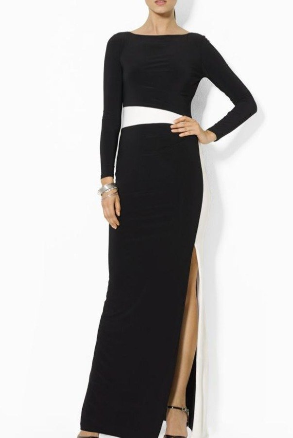 Ralph Lauren Black and White Colorblock Long Sleeve Dress Gown | Poshare