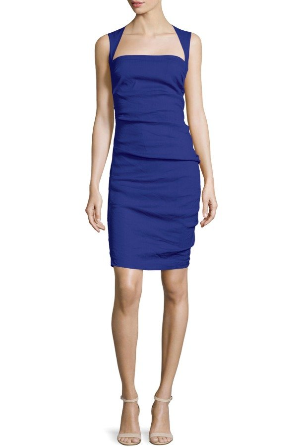 Nicole Miller Felicity Sleeveless Square-Neck Dress Dusty Purple