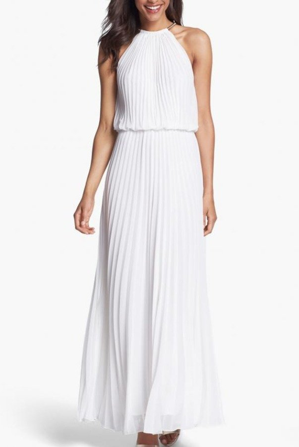 Xscape White Pleated Long Dress Wedding Gown   Poshare