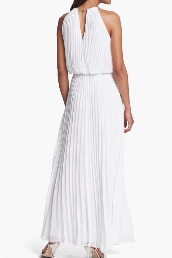 Xscape White Pleated Long Dress Wedding Gown | Poshare