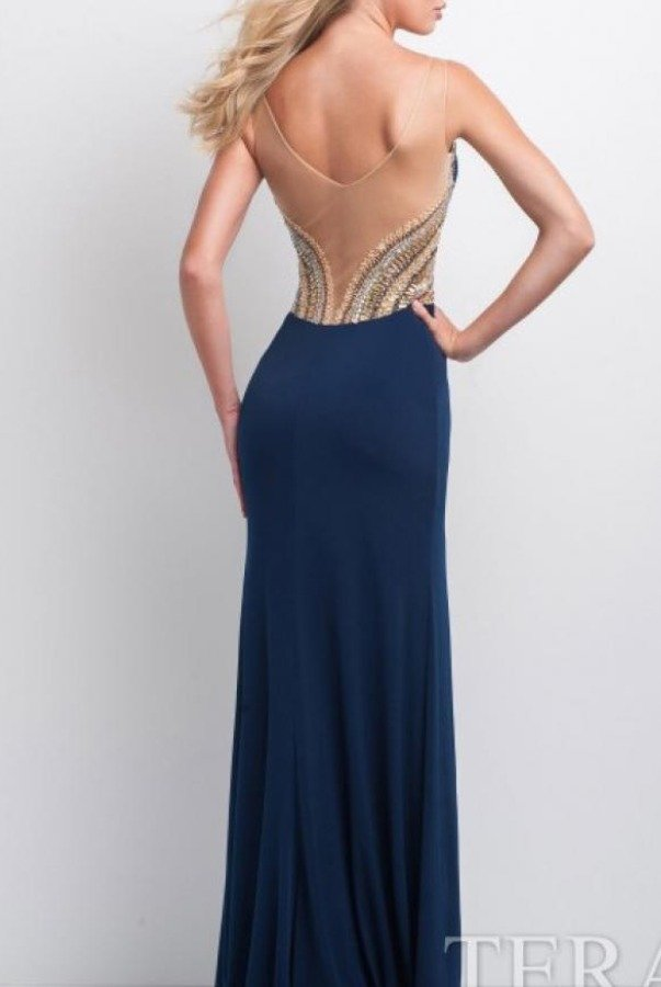 Camille La Vie Navy Plunge neckline beaded gown dress
