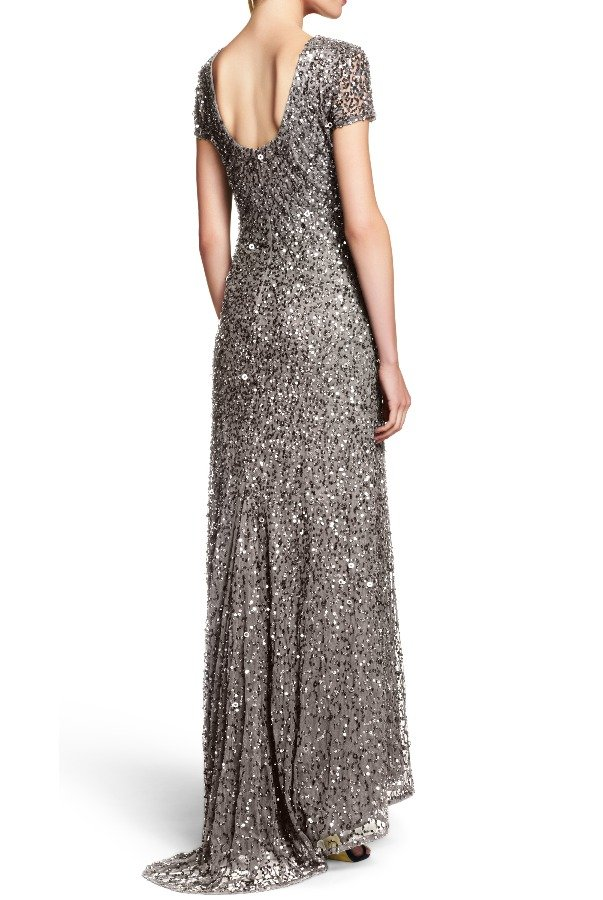 Adrianna Papell Lead Beaded Scoop Back Sequin Dress Bridesmaid