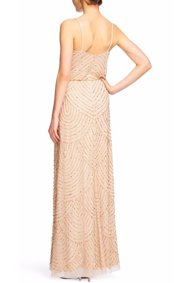 Adrianna Papell Art Deco  Beaded Blouson Gown in Champagne Gold