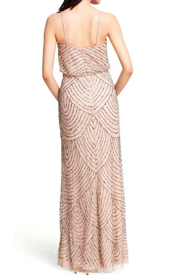 Adrianna Papell Taupe Pink Beaded Blouson Gown - Bridesmaid