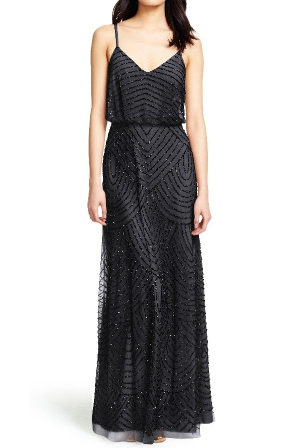 Adrianna Papell Black Art Deco Beaded Blouson Gown Bridesmaid