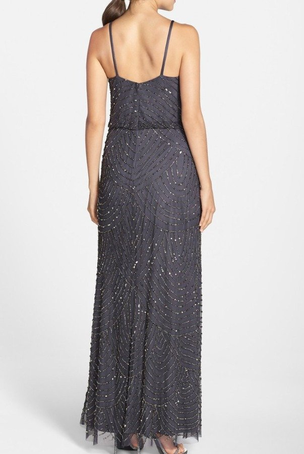 Adrianna Papell Gunmetal Grey Gold Embellished Beaded Blouson Gown
