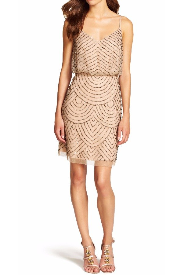 Adrianna Papell Sequin Mesh Beaded Blouson Dress Champagne Gold