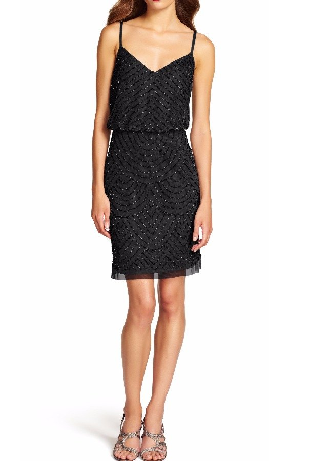 Adrianna Papell Sequin Mesh Beaded Blouson Dress Black Art Deco