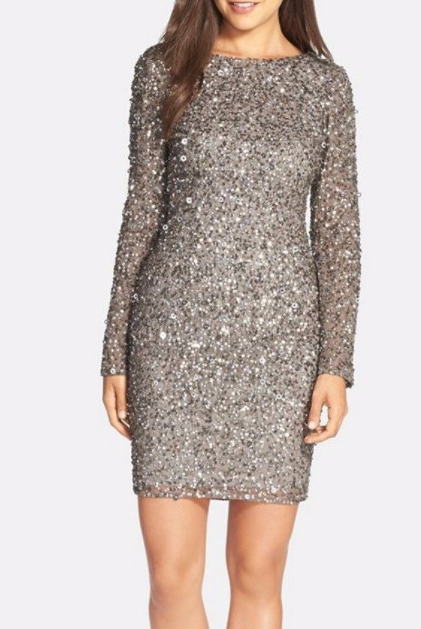 Adrianna Papell Sequin Embellished Scoop Back Cocktail Dress Lead