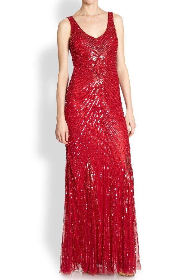 Aidan Mattox Red Sequin Beaded V-Back Mesh Evening Gown | Poshare