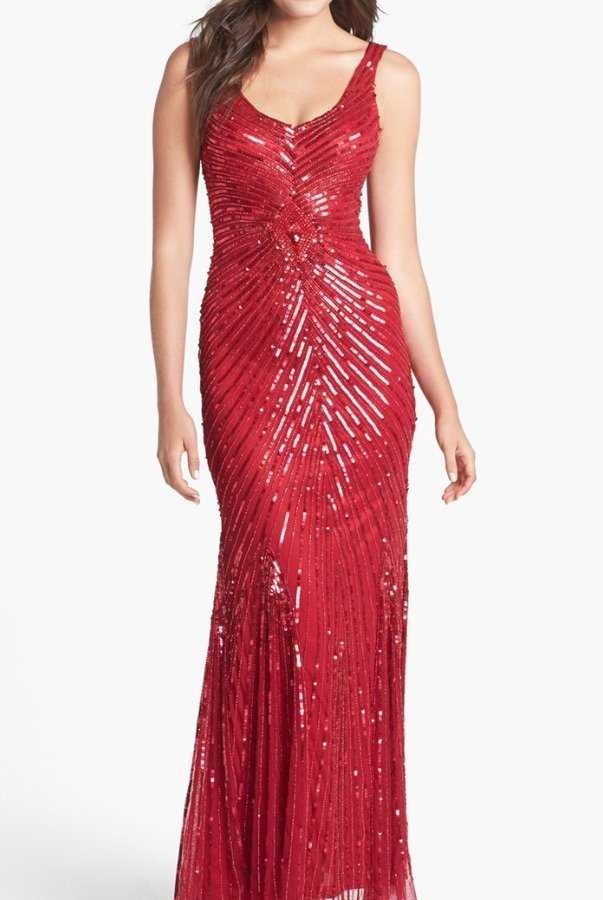 Aidan Mattox Red Sequin Beaded V-Back Mesh Evening Gown