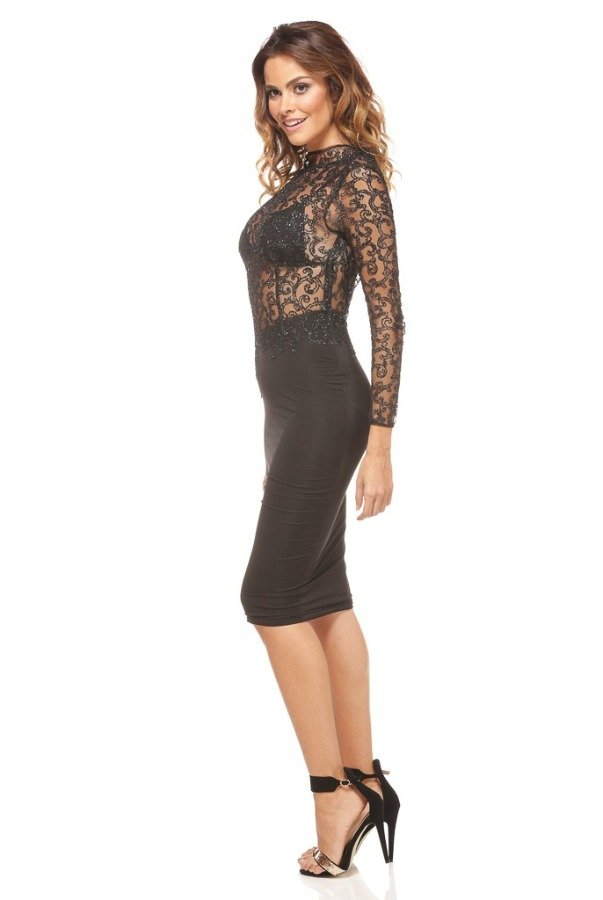 Abyss by Abby Lexi Glitter Lace Black Midi Dress