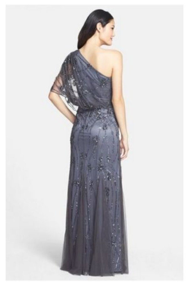 Adrianna Papell Beaded One Shoulder Blouson Gown Silver Gunmetal