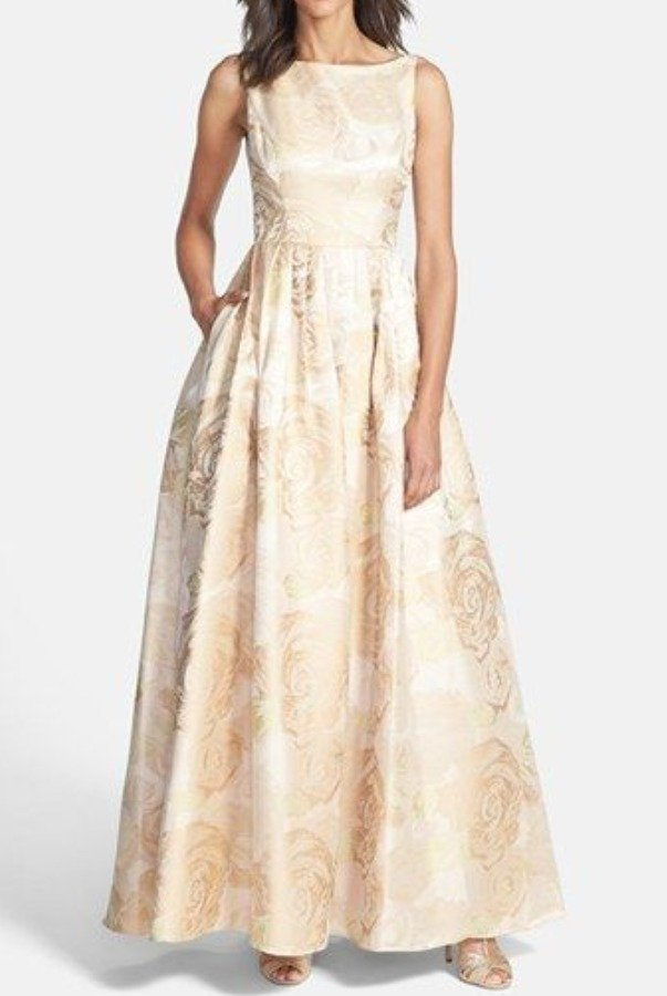 Adrianna Papell Metallic Floral Jacquard Ball Gown in Champagne ...