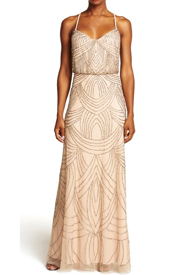 Adrianna Papell Beaded Deco Mesh Blouson Dress Gown in Taupe Pink