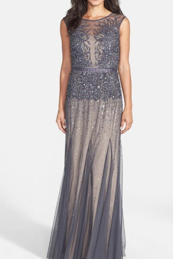 84952d52173740 Adrianna Papell Sleeveless Beaded Illusion Chiffon Gown Gunmetal Grey