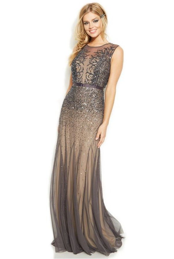 Adrianna Papell Sleeveless Beaded Illusion Gown Gunmetal Grey