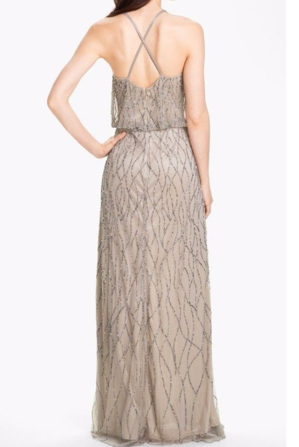 Adrianna Papell Beaded Blouson Gown Champagne Taupe Silver Bridesmaid