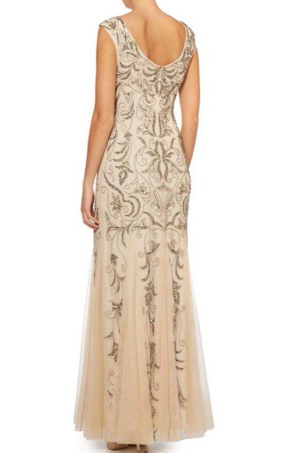 Adrianna Papell Champagne Cap Sleeve Gold Beaded Embellished Gown