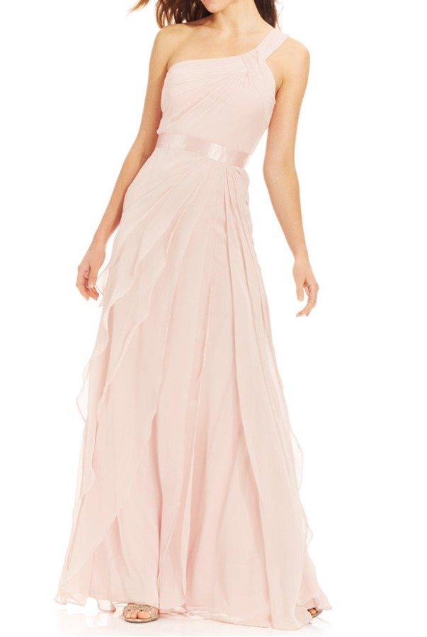 Adrianna Papell One Shoulder Teared Chiffon Gown Flutter in Blush