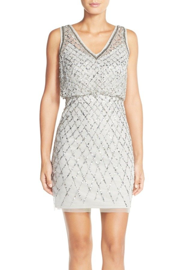 Adrianna Papell Embellished Beaded Blouson Sheath Dress Gray Silver