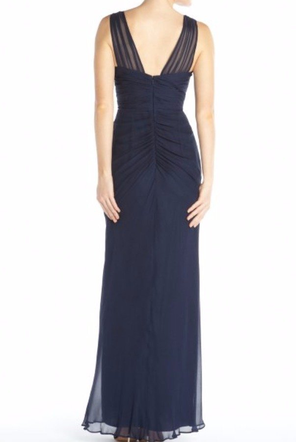 Aidan Mattox Blue Twilight Silk Chiffon V-Neck Illusion Straps Gown